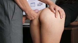 Horny Young Secretary Fucks In Anal, Pussy & Mouth With Her Office Boss Masturbate hands