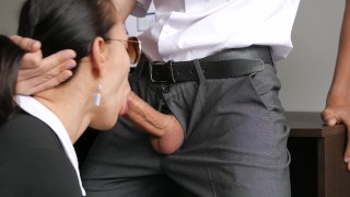 Horny Young Secretary Fucks In Anal, Pussy & Mouth With Her Office Boss Job booty