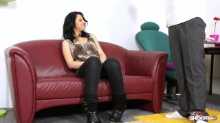 Under sexy see yo when wild brunette wearing became clothes fishnet cock deepthroat fakeshooting