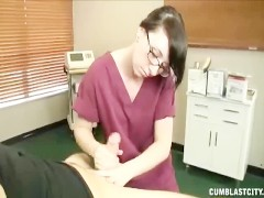 Teen nurse jacks off a huge dick