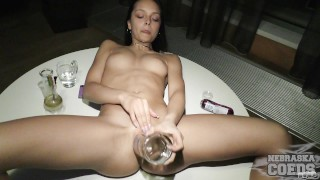 barely 18yo karina smoking weed stripping and vodka bottle masturbation hot