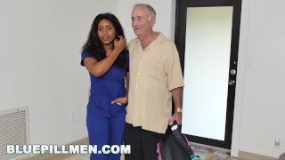 BLUE PILL MEN - Old Men Fuck Jenna J. Foxx's Fine Black Ass Spanking ever