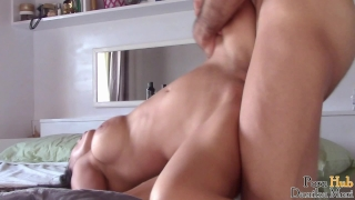 Young girl pov suck and ride then get hardly fucked and creampied Natural hot