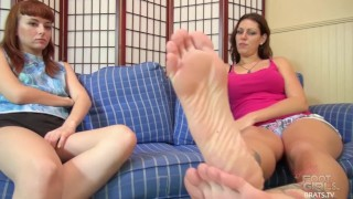 Brats.TV Foot Licking Femdom Sessions  painted toenails femdom kink brunette feet compilation blonde female domination soles foot fetish toes brats foot worship
