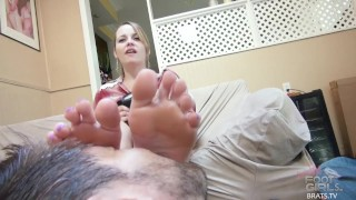 Brats.TV Foot Licking Femdom Sessions  painted toenails brats femdom blonde soles kink brunette foot fetish toes feet compilation foot worship female domination