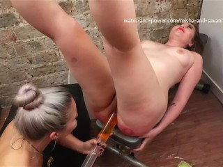 Savannah gives Misha her first enema