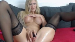 Busty Babe Masturbates and Squirts on Cam