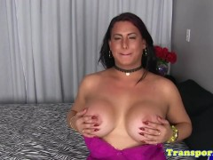 Hugetits tranny tugging her cock until cum