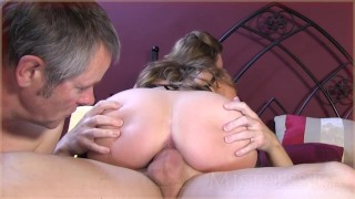 Cleaning creampie cuckold sucking hubby cock humiliation older