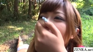 JAV star Haruki Satou bizarre outdoor facesitting Subtitled  outdoor outdoors bbw outside subtitled facesitting voluptuous zenra chubby jav subtitles slaves curvy japanese japan leotard