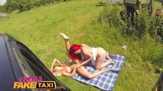 Female Fake Taxi Redhead takes Big Tits Blonde for Pussy picnic Blonde teasing