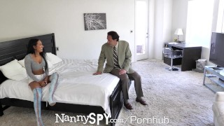 NannySpy Lonely dad seduces busty brunette Nanny Amia Miley Pov blowjob