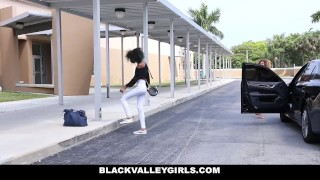 BlackValleyGirls - Ebony Kendall Woods & Best Friend Share Big Cock Stockings girlfriend