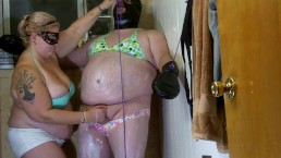 Sissy feminization by wife with Nair. Sissy sucks a dildo and is a spitter