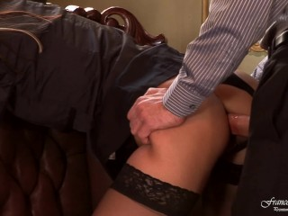 Footfetish Cam The Boss Fucks His Secretary In High Heels And Black Stockings, Blowjob