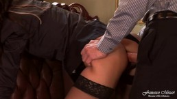 The boss fucks his secretary in high heels and black stockings