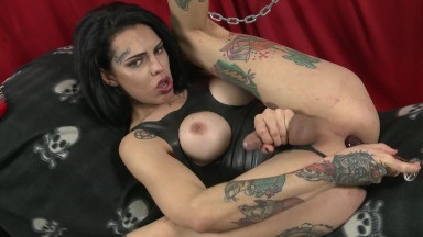 Fetish shemale Gabi Ink strokes cock while toying ass