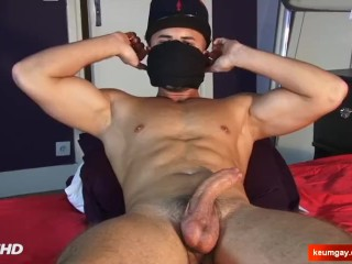 Anis: Nice innocent straight guy serviced his cock by us.