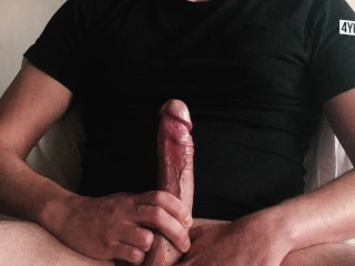 Slow edging hands free orgasm. Normal and slow motion.