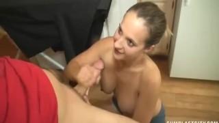 Topless girlfriend cumblasted