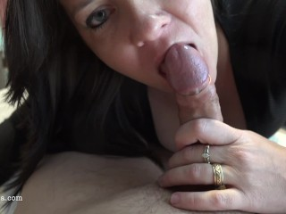 Preview 2 of Busty Milf Sucks And Rides For A Huge Creampie - POV 4K - Reverse Cowgirl