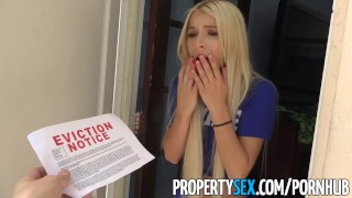 PropertySex - Petite entitled millennial fucks her landlord Real blonde
