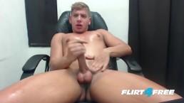 Flirt4Free Blond Model Scott Simon Jerks Off in His Computer Chair