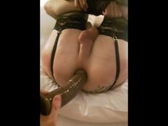 I tease, dildo and gape my CD femboy sissy boyfriend (Bonus clip :D)