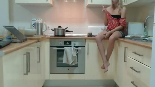 Nude nylon girls Sexy smoke in the kitchen
