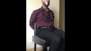 Tied to a Chair  duct tape gagged chairtied blindfolded tape male roped amateur fetish video gagged bondage cutieboy90 suit struggling self bondage tied up
