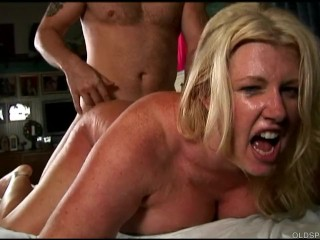 Zoey Andrews - Beautiful big tits blond old spunker enjoys a facial cumshot