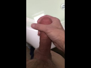 POV after Bathmate, guy wanks the sausage!
