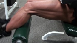 IFBB Pro FBB LDR Does Leg Extensions At The Gym
