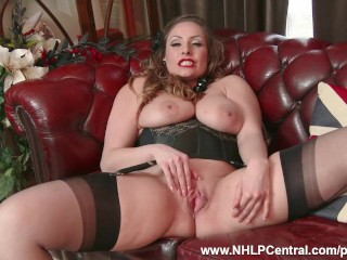 Natural big tits brunette Sophia Delane strips to nylons heels and wanks