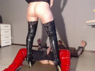 blond milf mistress angellika fucks her slave tv josje in the ass