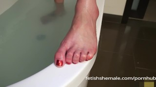 Jenna Tales Shows off her Sexy Shemale Feet