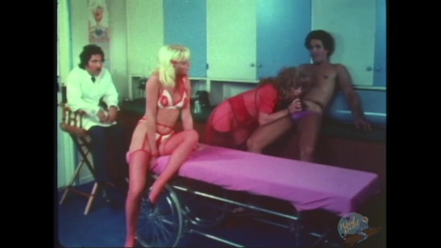 Vintage wood office chair Threeway in doctors office with squirting blonde