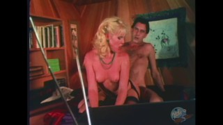 Sexy young blonde fucks older man