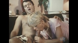 Short-haired blonde inhales a giant cock