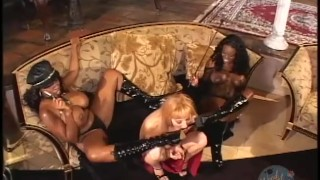 WHITE CHICK DOMINATED BY TWO BLACK AMAZONS