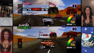Playing Cruis'n USA with Porn Stars