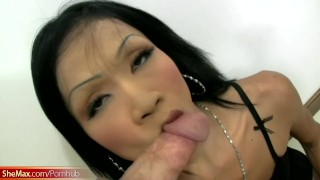 Black hair Thai shegirl strips and gives a perfect blowjob