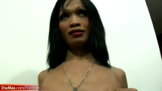 Black hair Thai shegirl strips and gives a perfect blowjob Girl on