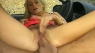 skinny german blonde gets fucked on the street Blowjob tits