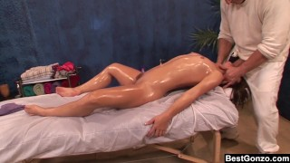BestGonzo Teen is slippery wet after erotic oil massage.