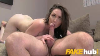 Fake Agent UK Big tits Aussie Yasmin Scott eats agents cumload in casting Creampie natural