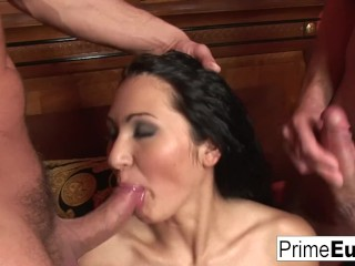 Hot brunette Gigi needs more than one cock