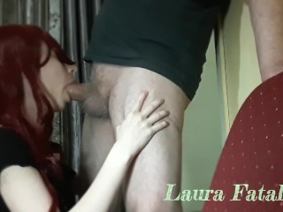 French redhead milf gets big facial after blowjob - Laura Fatalle