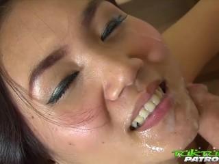 Thai stunner gets slammed by white cock