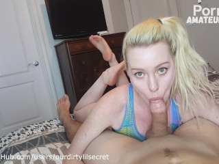 Sexy blonde has strong orgasm